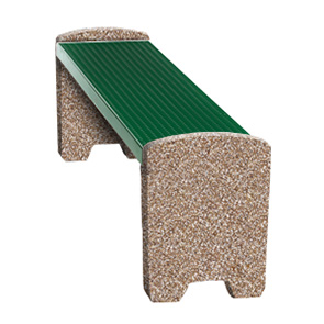 Model TSXBEN6 | Thermoplastic and Aggregate Flat Park Bench (Evergreen/Golden Glo)