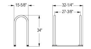 U2 Bicycle Racks Quick Dimensions