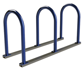 Model U236-6-P | U Rack on Rails Bicycle Storage Rack (Midnight Blue)