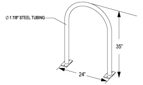 Inverted U Bike Rack Quick Dimensions