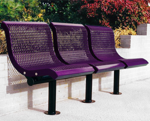 Model U3WBS-S | Thermoplastic Coated Downtown Style Straight Benches (Purple/Black)