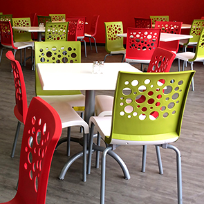 Tempo Stacking Chairs and Tables in Fern Green/White & Red/White