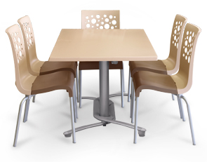 Tempo Stacking Chairs and Table Set (Beige/Taupe)