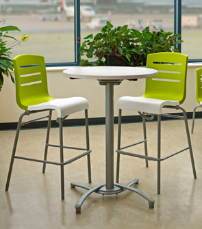 Domino Stacking Barstools (Fern Green Back/White Seat) and Molded Melamine Table Top with Bar Height Pedestal Base