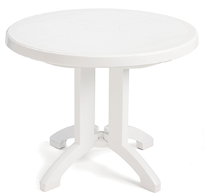 "Model US146004 | Vega 38"" Round Folding Resin Table with Umbrella Hole (White)"