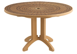 "Model US215008 | Havana 38"" Round Folding Table with Umbrella Hole (Tobacco)"