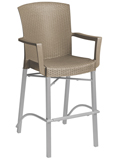Model US254181| Havana Barstool with Arms with Taupe Wicker Finish