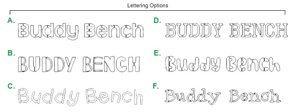 Buddy Bench Lettering Options
