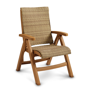 Model US357008 | Java All-Weather Wicker Folding Chair (Honey Wicker/Teakwood Frame)