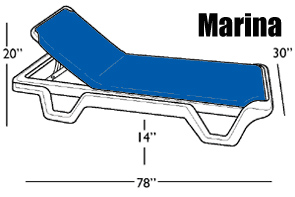 Dimensions for The Marina Chaise Lounge