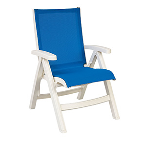 Model US352008 | Belize Midback Folding Sling Chair (Blue Sling / White Frame)