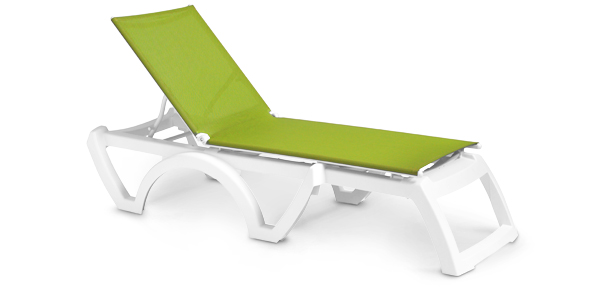 Model US746152 | Calypso Adjustable Stacking Sling Chaise Lounge (Fern Green/White)
