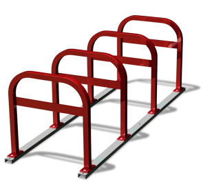 Model UX200-LB-8-P | Extended Square 'U' Commercial Bike Racks on Rails (Red)
