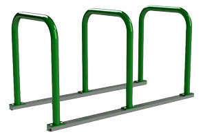 Model UX238-6-P | Extended 'U' Bike Racks on Rails (Forest Green)