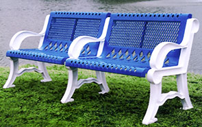 Model V4WB-P | Thermoplastic Coated 4' Villa Style Bench with Add-on Section (Mystic/White)