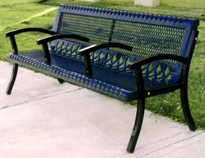 Model VC6WB-P | Thermoplastic Coated Steel Park Bench with Two Center Arms (Mystic/Black)
