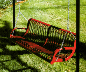 WM6WB-I-SWING | Thermoplastic Coated Park Bench Swing | Patio Swing (Red)