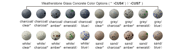 Weatherstone Glass Concrete Color Options
