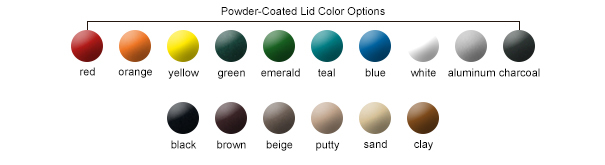 Powder-Coated Lid Color Options