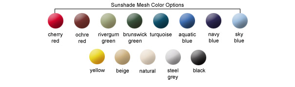 Sunshade Mesh Color Options