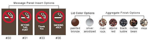 Message Panel Insert Options, Lid Color Options, Aggregate Finish Options