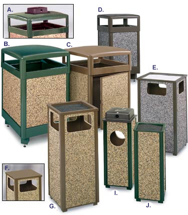 Natural Stone Panel Series Trash Receptacles