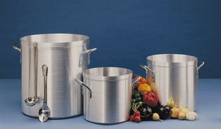 "1/4"" Thick Heavy-Duty Aluminum Stock Pots Group"